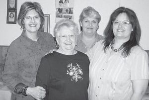 At Blake and Chasity Mason's household shower are (left to right) Charlene Tacket Mason, Esther Tacket Wagner, Jeanette Tacket Yonts and Delores Tacket Holbrook.
