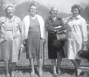 Pictured are Thelma Gibson Banks, Beulah Gibson Caudill, Louama Gibson Banks, and Virginia Gibson Brown, four of Hop Gibson's daughters.