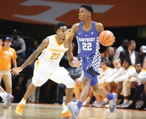 Shai Gilgeous-Alexander reminds UK assistant coach Tony Barbee of former NBA star Rod Strickland with his ability to get inside and score. (Vicky Graff Photo)