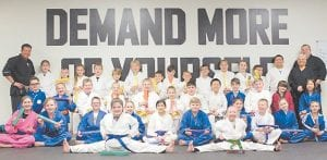 Larry Adams Martial Arts students demonstrated their excellence in discipline and martial arts by participating in and passing Belt Rank Advancement testing, held Jan. 5 in Pikeville. In the Warrior Group are Kylie Johnson, Piper Adams, Haydn Bentley, Abby Collins, Abby Worrix, Garah Pigg, Joel Burke, Chase Anderson, Ryka Beverly, Blayne Mullins, Chelsea Stiltner, Hayden Charles, Reece Anderson, Maddy Hickenbothom, Ryleigh Hopkins, Sebastion Bartley, Connor Gibson, Eric Lin, Nicole Lin, Callahan Stollings, Hayley Prater, Kyle Lee, Maddison Anderson, Sarah Justice, Haylee Hopkins, Hunter Phillips, Jay Lucas, Keagan Thacker, Koko Branham, Malachi Williamson, Phillip Justice, Sean Fields, Shay Gibson, Damien Falter, Jon Falter, Kyra Hale, Noah Hale and Parker Caudill. The testing panel was Larry Adams, Lacy Adams and Chris Fleniken.