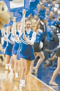 Former UK cheerleader Emily Sawyer not only has made the Team USA cheer squad, but she'll be back cheering in Rupp Arena Saturday because the UK cheerleaders are at the Olympics. (UK Athletics)