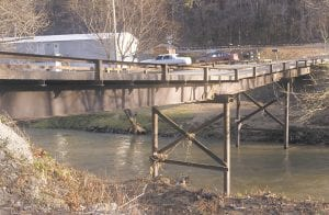 BENT BRIDGE – A bridge across the Kentucky River on Hancock Drive bends in the middle and lists to one side. Residents say the bridge has been a problem for years, but recent flooding has made it even worse. See related story elsewhere this page.