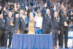 Rick Robey, third from right, hopes Kentucky fans remember the 1978 national championship team for its unselfish play.