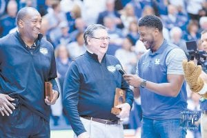 "Former LSU coach Dale Brown called former UK head basketball coach Joe Hall, center, a ""true gentleman."" At left is former UK hoops great Jack Givens. (Jeff Houchin Photo)"