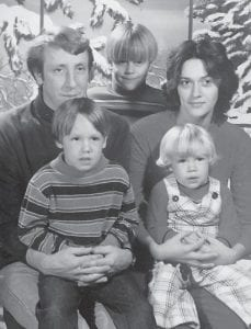 Jimmy Boggs is pictured with his wife Linda Sharon Adams Boggs with their three sons.