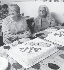 — A party was held March 4 at Hurricane Gap Church at Gordon to celebrate the 93rd birthday of Florida Halcomb (right) and the 83rd birthday of Mary Jane Holcomb. Around 100 people attended. The family thanks their pastor, Bro. Clyde Bentley, and those who brought the food for the party.