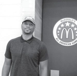 Chuck Hayes is now working as a scout for the Houston Rockets, but he still proudly wore his UK Final Four hat at last week's McDonald's All-American Game. (Photo by Larry Vaught)