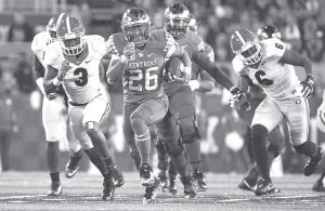The only SEC players ever to have at least 31 rushing touchdowns and 2,409 yards before his season season are Georgia's Herschel Walker, LSU's Leonard Fournette and Kentucky's Benny Snell. Snell will be the best player on the field during UK's Blue-White spring game on April 13. (Vicky Graff Photo)