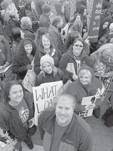 Marchers from Martha Jane Potter Elementary and other schools protest the pension bill in Frankfort.