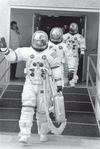 Near disaster averted On Saturday, April 11, 1970 the crew of the Apollo 13 lunar landing mission are shown in their space suits on their way to the launch pad at Kennedy Space Center in Cape Kennedy, Fla. Flight Commander James A. Lovell Jr., is waving, followed by Lunar Module pilot John L. Swigert Jr., and Command Module pilot Fred W. Haise Jr. Two days later, an explosion on board forced Apollo 13 to circle the moon without landing. Below, London evening newspapers on April 14, 1970 carried the news of the blast that would bring an early ending to what was supposed to be the third lunar landing mission, outlining the battle to bring the astronauts and their crippled spaceship back to Earth from a quarter million miles away. The three astronauts were able to return home safely on April 17, 1970. (NASA and AP photos)