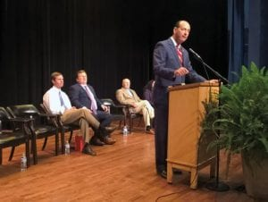 RALLYING THE TROOPS – Kentucky House Majority Leader Rocky Adkins speaks Tuesday during a rally with teachers at Letcher County Central High School on Attorney General Andy Beshear, Superintendent Tony Sergent, State Sen. Johnny Ray Turner and Letcher County Teachers Organization president Regina Brown look on. (Photo by Sam Adams)