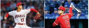Los Angeles Angels two-way star Shohei Ohtani is pictured throwing against the Boston Red Sox and hitting against the Kansas City Royals. Ohtani, of Japan, is in his first-year of Major League Baseball.(AP)