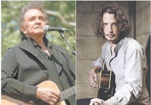 In this combination photo, Johnny Cash performs at a benefit concert in Central Park in New York on May 23, 1993, left, and Chris Cornell plays guitar during a portrait session at The Paramount Ranch in Agoura Hills, Calif., on July 29, 2015. (AP Photo)