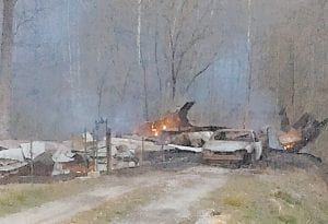 The remains of Gary Collier's home are seen in this photo taken at Johnson Fork.