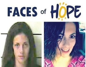 Kayla Parsons before, left, and after treatment for drug addiction through Addiction Recovery Care.