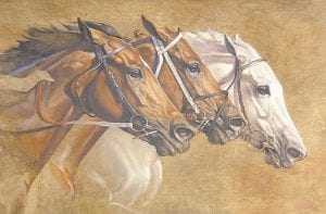 This picture, Racing Trio, was painted by Jaime Corum.