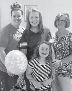 — A 70th birthday party for Rose Collier was held May 19 at the Seco Pentecostal Church. Pictured are (left to right) her grand daughter Alyssa Sandlin, daughter, Robin Sandlin, Rose Collier, and (front) great grand daughter Arabella Sandlin.