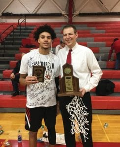 Pendleton County coach Keaton Belcher is thrilled his team and star player Dontaie Allen will play in the Marshall County Hoop Fest. Allen took an unofficial visit to Kentucky Sunday. (Billie Jo Chaplin Photo)