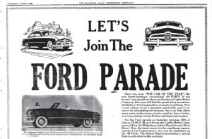 """WHEN NEW CAR RELEASES WERE BIG EVENTS — It was once a big event when America's top automakers announced the arrival of new models. Such was the case during the the week of June 17, 1948, when Combs Motor Company of Whitesburg, one of the area's Ford dealers at the time, announced that the Whitesburg High School Marching Band would lead the """"Ford Parade"""" of new models for 1949 on Main Street in Whitesburg, stopping at the Letcher County Courthouse for a concert. Pictured above is part of a full-page ad announcing that event."""