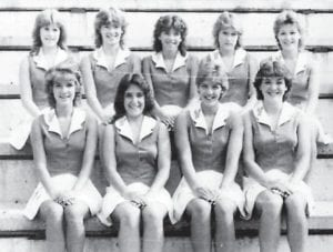 The '83-'84 varsity cheerleading squad was chosen by three judges and are senior Beth Lucas; juniors Mary Page Polly, Trina Jenkins, Tracy Holbrook, and Denise Simmons; sophomores Charlsea Miller and Wendy Williams; and freshmen Missy Campbell, Shannon Page, and Leana Caudill.