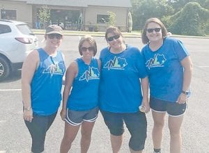 Heather Boggs, Candice Bates, Elizabeth Cooper, and Shellie Elswick made up four of the hiking group from No Limits Fitness.