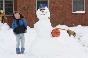 Roman Damron enjoyed playing in the snow on Oct. 30 in Jenkins. Roman and his father, Mark Damron, made a University of Kentucky snowman.Roman's mother, Kellie Damron, took the photograph.