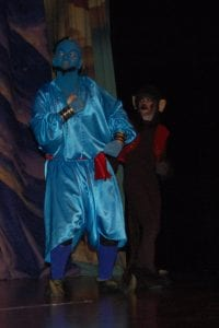 Pictured above is Genie, played by Robbie Rowlette and Abu the monkey, played by Nick Madden.