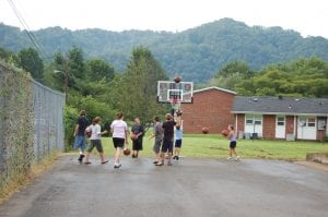 Children played basketball at the Whitesburg Housing Authority August 10. Members of the Whitesburg Rotary Club purchased new goals and basketballs for children who live at the Whitesburg Housing Authority.