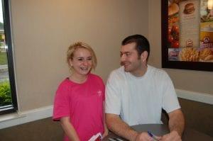 Tayler Fleming, 14, of Burdine, laughed when she met Josh Harrellson.