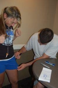 Josh Harrellson signed shorts belonging to Tiffany Yonts, 17, of Whitesburg.