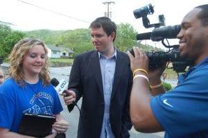 Matt Jones of Kentucky Sports Radio interviewed Brittany Spangler, of 12, Jenkins while she waited in line outside Wendy's to meet Josh Harrellson.